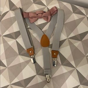 Pink Bow tie and gray suspender set